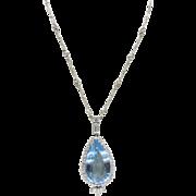 Stunning Natural Deep Blue Aquamarine Drop 18K Gold and Diamond Long Necklace