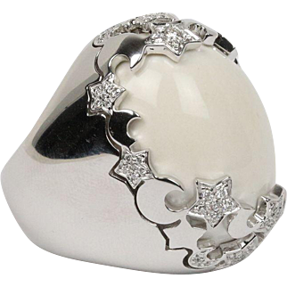 Large Pasquale Bruni Cielo White Onyx and Diamond Star Heavy 18K Gold Ring