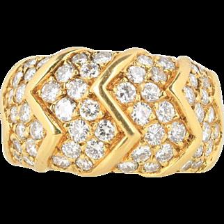 Vintage Van Cleef & Arpels French 2.25 Carat Diamond Zig Zag Band Ring