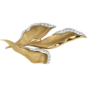 Vintage Chaumet 1.7 Carat Diamond and 18K Gold Lily French Designer Brooch