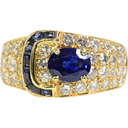 1970s Van Cleef & Arpels Diamond and Sapphire Buckle 18K Gold Ring