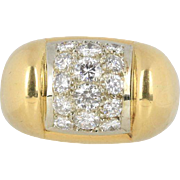 Vintage Cartier 1.1 Carat Diamond and 18K Gold Wide Funky Band Ring