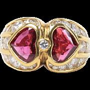 GIA Bvlgari Double Heart 2.74 Carat Natural Ruby and 3 Carat Diamond 18K Gold Classic Ring