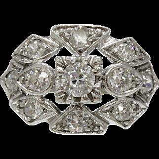 Art Deco Platinum Diamond Cluster Geometric Ring