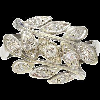 Vintage Laurel Leaf Olive Branch 14K Gold Diamond Cluster Ring