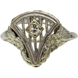 Art Deco 14K White Gold Filigree Floral Harp Style Diamond Ring
