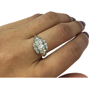 Antique Art Deco 14K Gold Old European Cut Diamond Cluster Ring