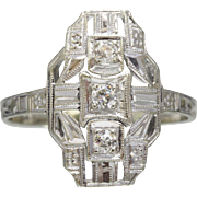 Art Deco Geometric Navette Shaped 14K White Gold Diamond Ring