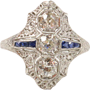 Art Deco Old Mine Cut Diamond and Sapphire Filigree Platinum Navette Ring
