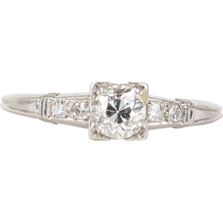 DR562 Art Deco Era Platinum and 0.50 Carat Old Mine Cut Diamond Engagement Ring