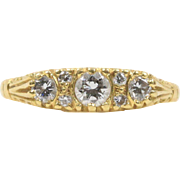 English Gypsy 0.5 Carat Diamond Trilogy 18K Gold Ring Band