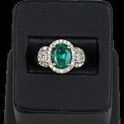Vintage Emerald and Diamond 14K Gold Princess Ring Alternative Engagement