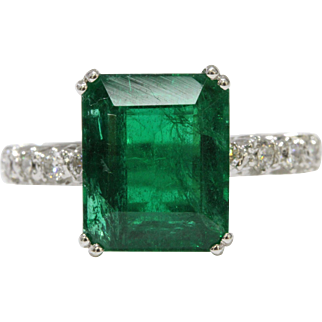 GIA Natural Emerald and Diamond Eternity Band 18K Gold Ring