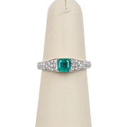Natural Emerald and Diamond Pave 14K White Gold Alternative Engagement Ring