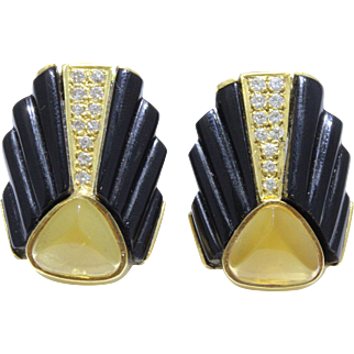 Art Deco Fluted Onyx Citrine and Diamond Architectural 18K Gold Earrings