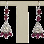 Vintage Diamond and Carved Ruby Chandelier Drop Fan 12K Gold Earrings