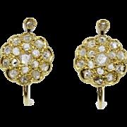 Antique Rose Cut Diamond 18K Gold Cluster Earrings