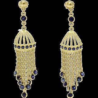 Feminine Birdcage Chandelier 18K Gold Dangle Sapphire Earrings