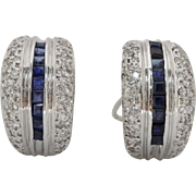 Estate Natural Sapphire and 1.5 Carats Diamond 14K Gold Huggie Earrings