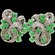 Midcentury Vintage Platinum Jadeite Jade Diamond Swirl Ribbon Design Earrings