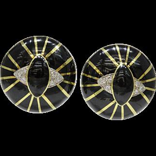 Vintage Onyx Black Enamel Diamond Dome Eye Shaped Clip Earrings