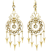 Victorian Chandelier 18K Gold Earrings with Diamonds Pearls and Arrow Drop Details