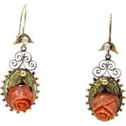 Victorian Delicately Carved Coral Rose 18K Gold Drop Dangling Earrings