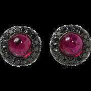 Vivid Pink Tourmaline Cabochon and Black Diamond 18K Black Gold Clip Earrings