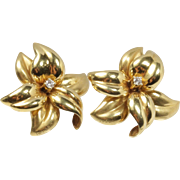 Large Vintage 18K Gold and Diamond Flower Clip Earrings by Vasari