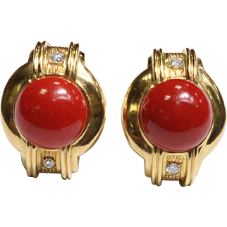 Vintage 1980s Deep Red Coral and Diamond Heavy 18K Gold Clip Earrings