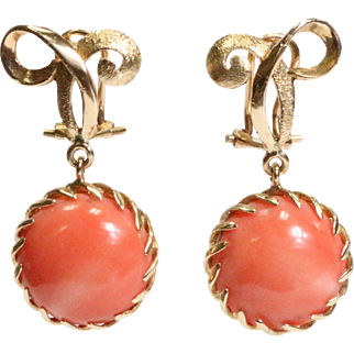 Vintage Natural Coral Drop and 14K Gold Bow Earring Clips