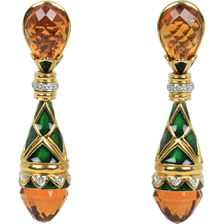 Vintage Fancy Cut Citrine Diamond and Green Enamel 18K Gold Italian Drop Earrings