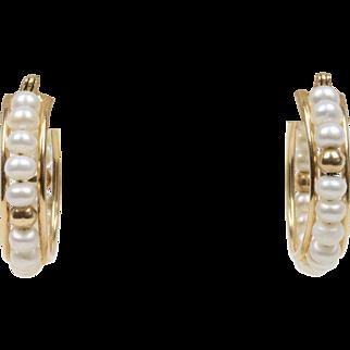 Estate Freshwater Pearl and 14K Gold Hoop Earrings