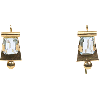 Retro Era Natural 6 Carat Aquamarine Dangling Drop 18K Gold Earrings