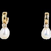 Maison Birks Akoya Pearl and Diamond 18K Gold Drop Dangle Bridal Earrings