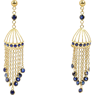 Vintage Natural Sapphire and 18K Gold Chandelier Birdcage Dangling Earrings