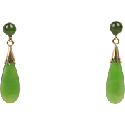 Vintage Natural Green Spinach Jade Drop 14K Gold Earrings