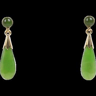 Vintage Natural Green Spinach Jade Drop 14K Gold Earrings