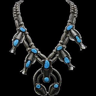 Large Vintage Navajo Squash Blossom Sterling Silver Natural Turquoise Statement Necklace