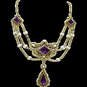 Art Nouveau 20K Gold Ornately Designed Amethyst Seed Pearl Festoon Necklace