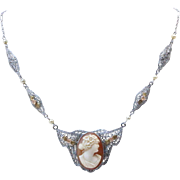 Art Deco Shell Cameo and 10K Tricolor Gold and Pearl Filigree Necklace