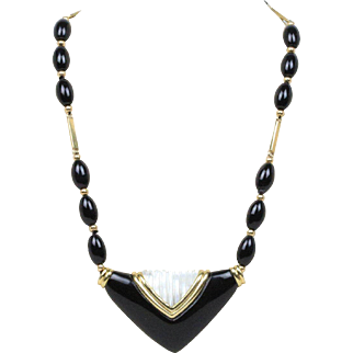 Long Onyx and Carved Mother of Pearl 14K Gold Statement Necklace