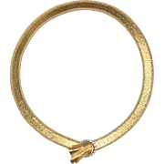 Vintage 14K Yellow Gold and Diamond Ribbon Bow Buckle Wrap Necklace
