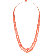 Natural Coral Double Strand Salmon Colored 18K Gold Necklace