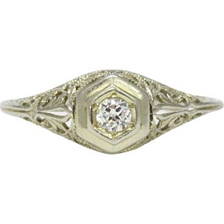Antique Diamond and 18K White Gold Filigree and Hexagonal Engagement Promise Ring