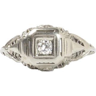 Antique Diamond and 18K White Gold Filigree Engagement Promise Ring