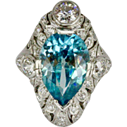 Stunning Edwardian GIA Blue Zircon and 3.25 Carat Diamond Platinum Ring