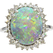 Stunning Australian Black Opal Diamond Halo Platinum Ring Alternative Engagement