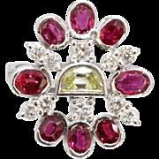 Vintage Funky Fancy Yellow Diamond Ruby 18K Gold Ring