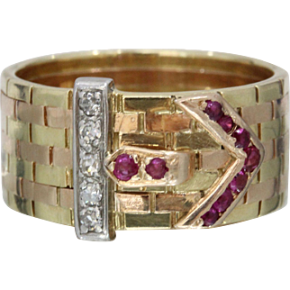 Vintage Retro 14K Yellow Rose Gold Two Tone Belt Buckle Diamond Ruby Ring Band